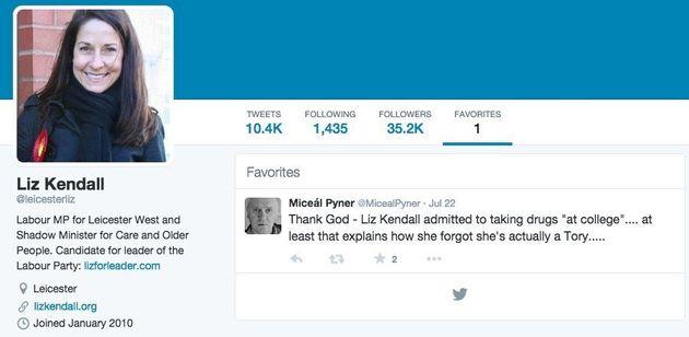 Liz Kendall Favourites Tweet That Brands Her A