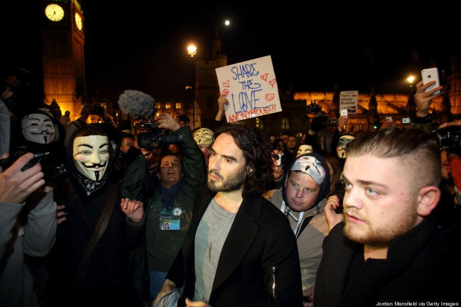 Million Mask March Activists Clash With Police In London, Russell Brand Joins