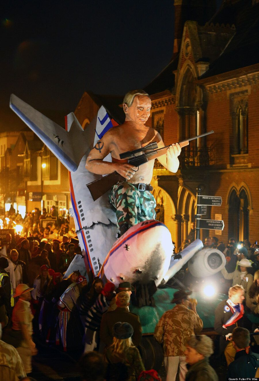 Lewes Bonfire Night Burnt Vladimir Putin In A Mankini And Sat Astride