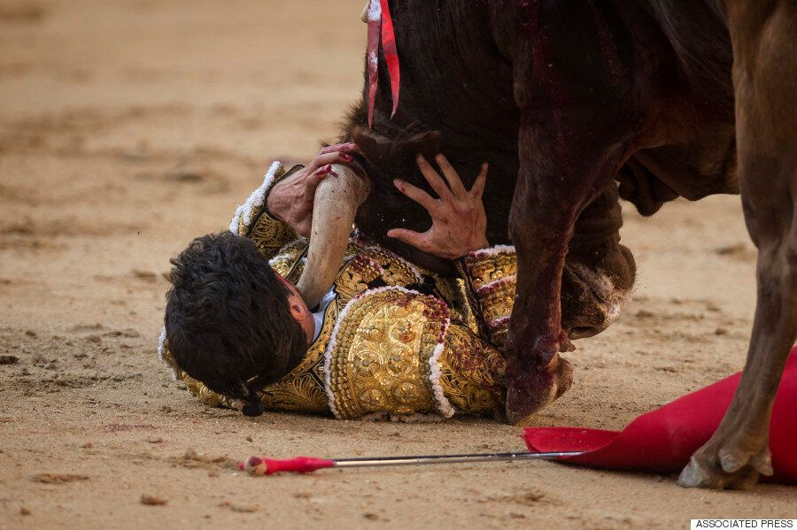 Graphic Photos Show Horrific Moment Bullfighter Matador Lorenzo Sanchez Is Pinned To The Floor And Gored...