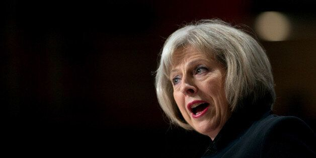 Home Secretary Theresa May addresses the Conservative Party Conference in the main hall of the ICC Birmingham...