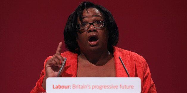 MANCHESTER, ENGLAND - SEPTEMBER 28: Diane Abbott MP addresses delegates on the third day of the Labour...
