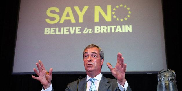 UKIP leader Nigel Farage speaks during a conference in which he discussed how the 'No' campaign can win...