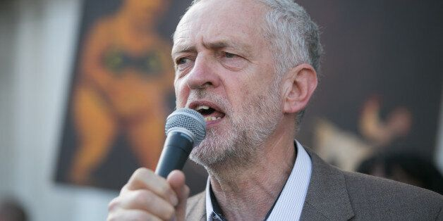 Jeremy Corbyn MP speaks during a protest against the European Central Bank, in Trafalgar Square, London,...