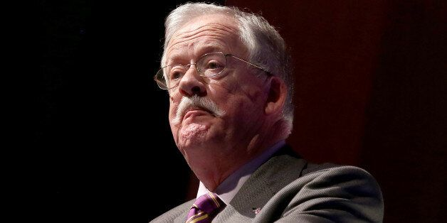 TORQUAY, ENGLAND - FEBRUARY 28: Roger Helmer MEP and UKIP Energy and Industry spokesman speaks at the...