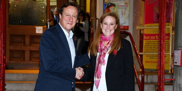 Prime Minister David Cameron with Kelly Tolhurst, the Conservative candidate in the Rochester and Strood...