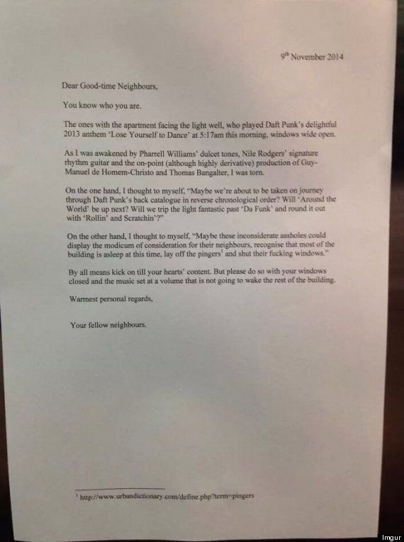 Neighbours Respond To Late-Night Party With The Best Note Ever
