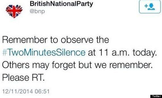 BNP Tweet Remembrance Day Silence Reminder - A Day