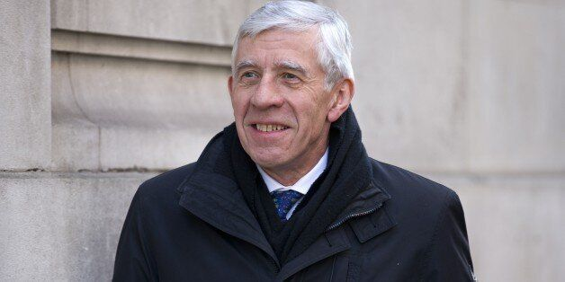British member of parliament Jack Straw arrives at Millbank Studios to carry out interviews in London...