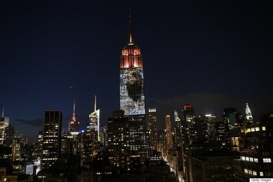Cecil The Lion Projected Onto Empire State Building With Other Endangered