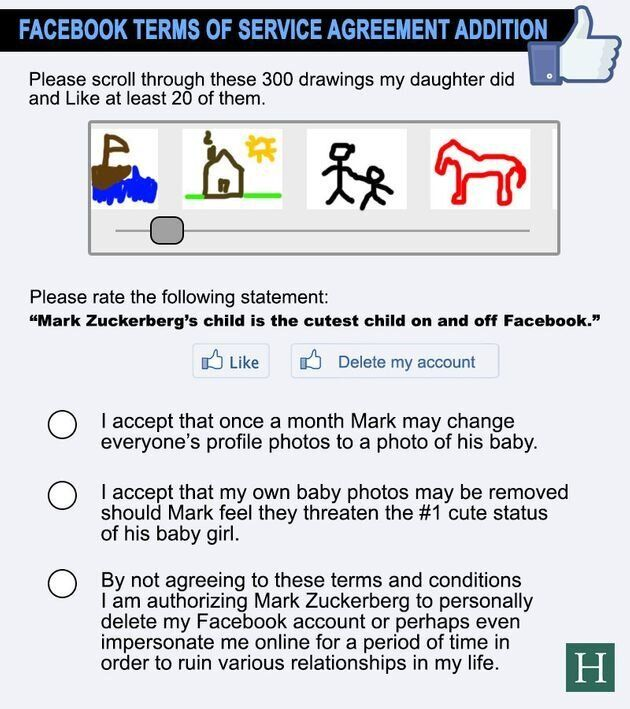 Facebook's Terms Of Service Agreement Now That Mark Zuckerberg Is Having A
