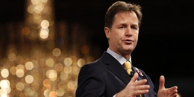 British Deputy Prime Minister Nick Clegg addresses delegates at the annual Confederation of British Industry...