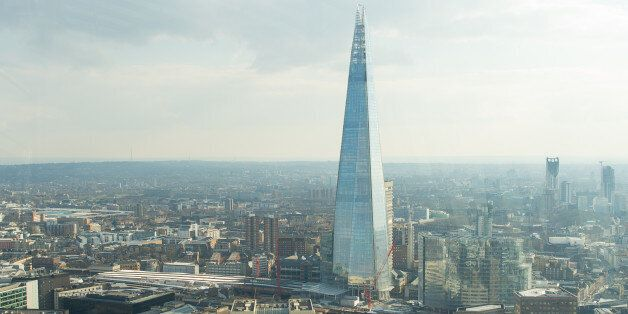 General view of the Shard, and London Bridge Station as seen from the Sky Garden at 20 Fenchurch Street,...