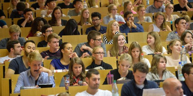 FRANKFURT AM MAIN, GERMANY - OCTOBER 13: Students follow a commercial information technology in a lecture...