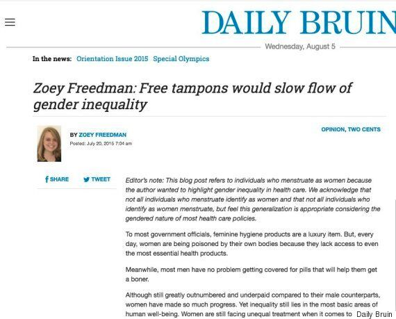 What Happens When A Female Student Argues For Free Tampons? She Gets Mercilessly