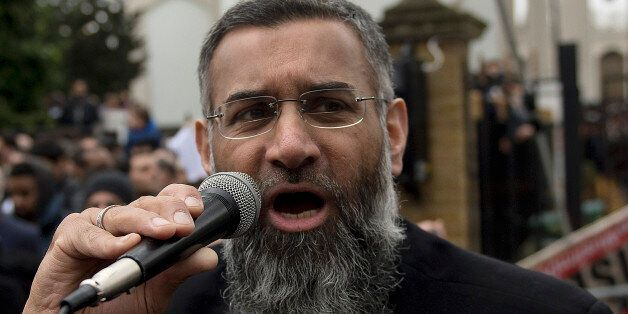 Radical cleric Anjem Choudary speaking outside London Central Mosque and Islamic Cultural Centre in