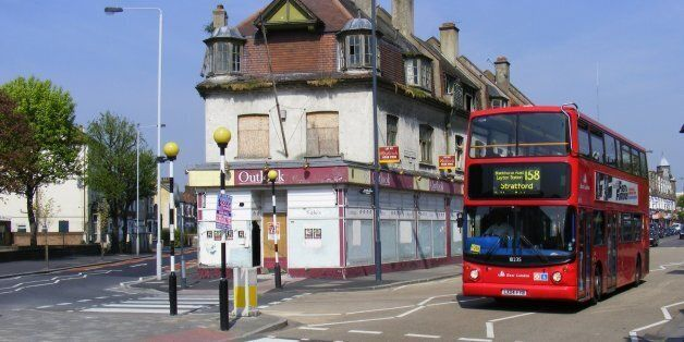 High Road and Grange Park Road, E10. Need to research this time-called building. Since demolished, bus...