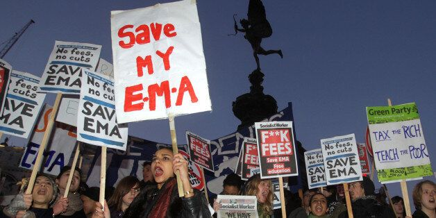Protesters gather in Piccadilly Circus, London, in a protest against controversial plans to scrap the...