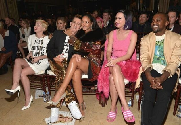 WEST HOLLYWOOD, CA - JANUARY 22: (L-R) Recording artists Miley Cyrus, honoree Jeremy Scott, recording...