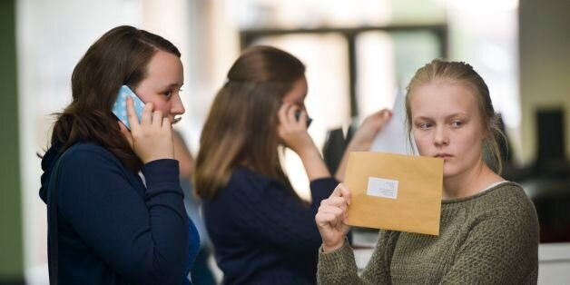 Students at Yate International Academy, South Gloucestershire, open their A-Level exam results, as official...