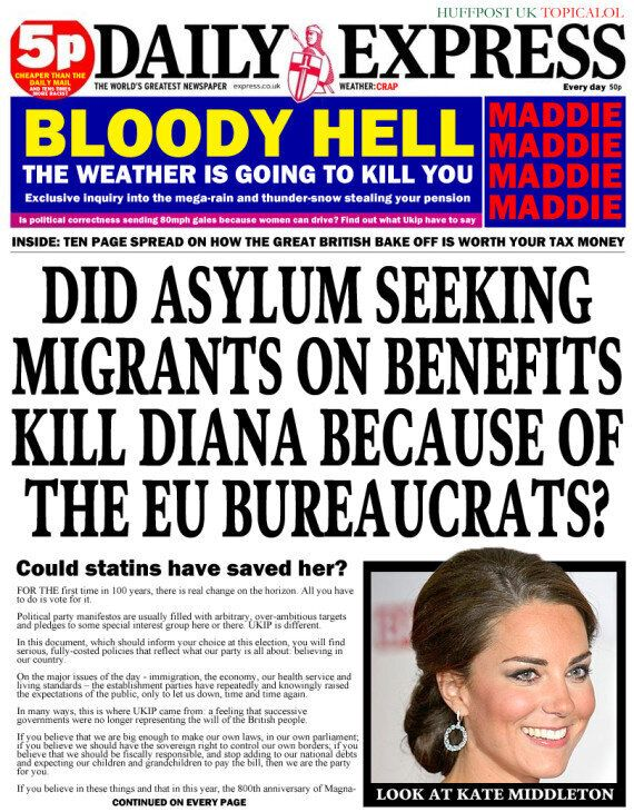 Every Daily Express Front Page