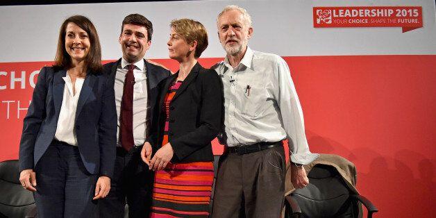 GLASGOW, SCOTLAND - JULY 10: Labours candidates for Leader and Deputy Leader Liz Kendall, Andy Burnham,...