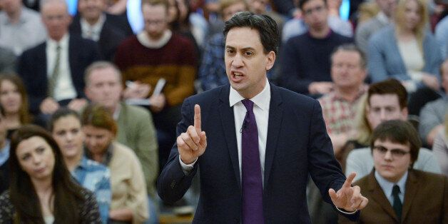 Labour leader Ed Miliband during his speech to party supporters at the University of London