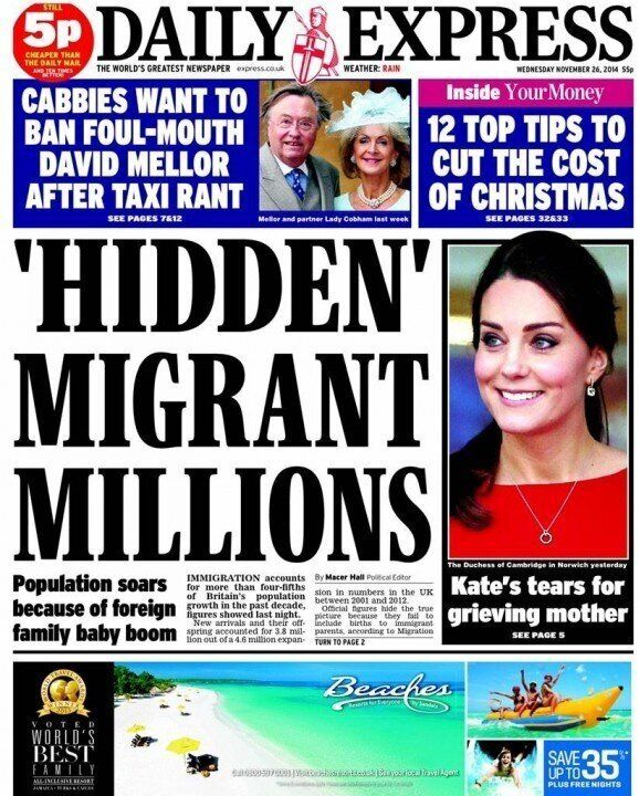 Labour Attacks 'Highly Offensive' Daily Express Immigration Front