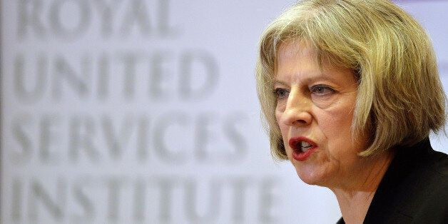 Home Secretary Theresa May speaks during the counter-terrorism awareness week conference at the Royal...
