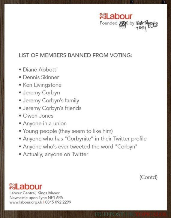 LEAKED: List Of People Banned From Voting In Labour Leadership