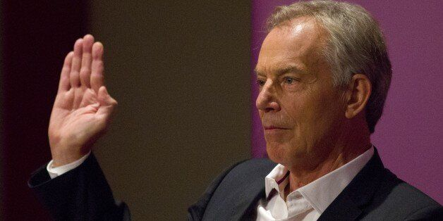 Britain's former Prime Minister and former Labour Party leader, Tony Blair, gestures as he speaks at...