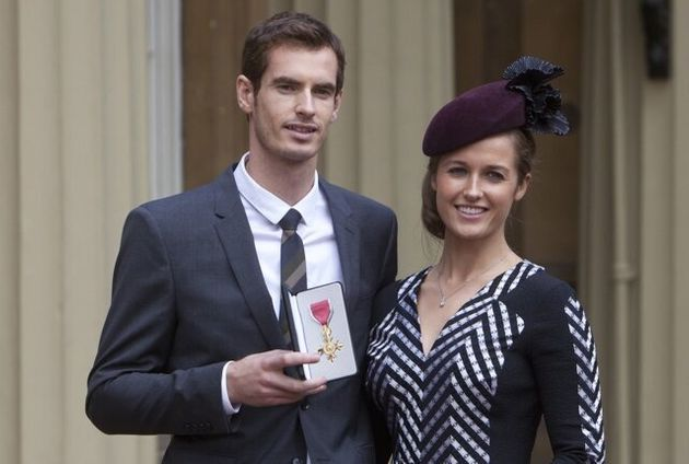 Mandatory Credit: Photo by REX (3205520d) Andy Murray with his Girlfriend Kim Sears holding his OBE Investitures...