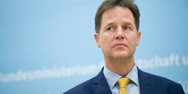 BERLIN, GERMANY - NOVEMBER 26: British Deputy Prime Minister Nick Clegg attends a press statement in...