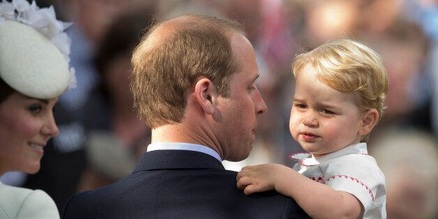 FILE - In this Sunday, July 5, 2015 file photo, Britain's Prince William, Kate the Duchess of Cambridge...