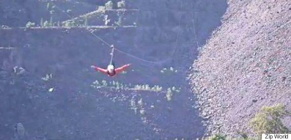 Stuntman Nicholas Daines Performs Europe's Fastest Zip Line For Orangutan
