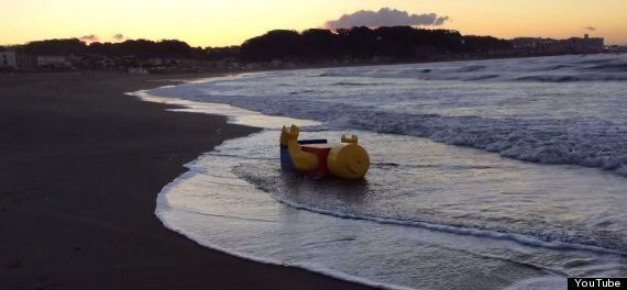 Giant Lego Figure Washed Up On Japanese Beach Is A Beautiful Work Of Creative