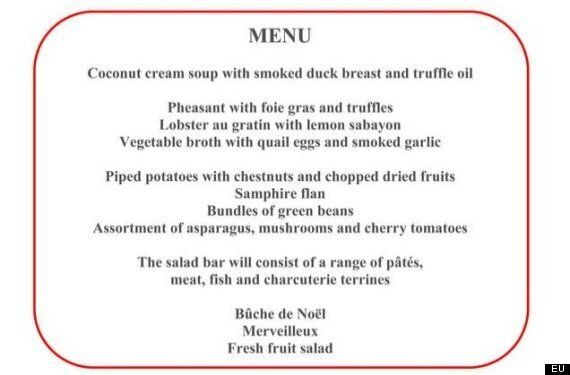 The Menu For The EU's Xmas Lunch May As Well Have Been Written By