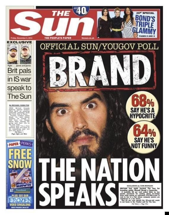 The Sun Hits Back At 'Hypocrite' Russell Brand By Saying He's Not Funny... And No-One Likes