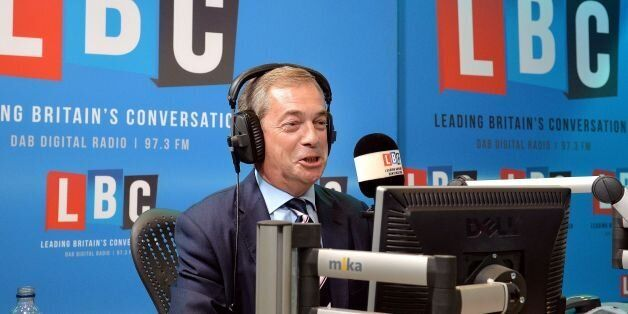 Nigel Farage on the LBC Radio phone-in show, in the studios, in central