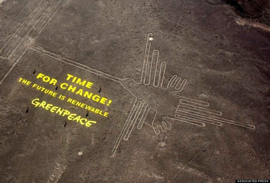 Greenpeace Faces Charges Over Banner On Peru's Sacred Nazca