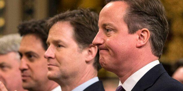 British Prime Minister, David Cameron (R), Britain's Deputy Prime Minister, Nick Clegg (2nd R) and British...
