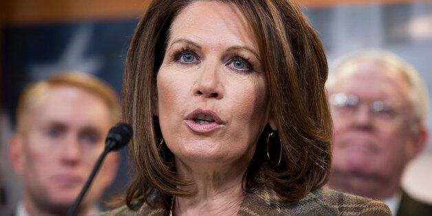 Rep. Michelle Bachmann, R-Minn., speaks at a news conference in the Capitol Visitor Center in support...