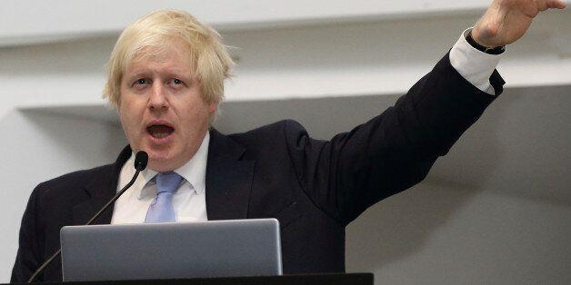 SINGAPORE - NOVEMBER 28: Mayor of London, Boris Johnson speaks during the FinTech event at the ArtScience...