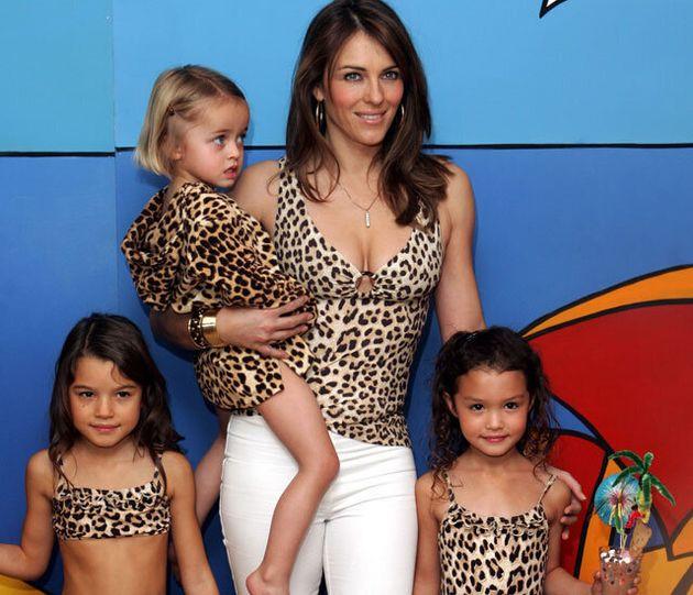 d601e07c6 Liz Hurley Slammed Over Leopard Print Bikinis For Girls Under 8 ...