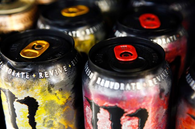 Cans of Monster Beverage Corp. energy drink