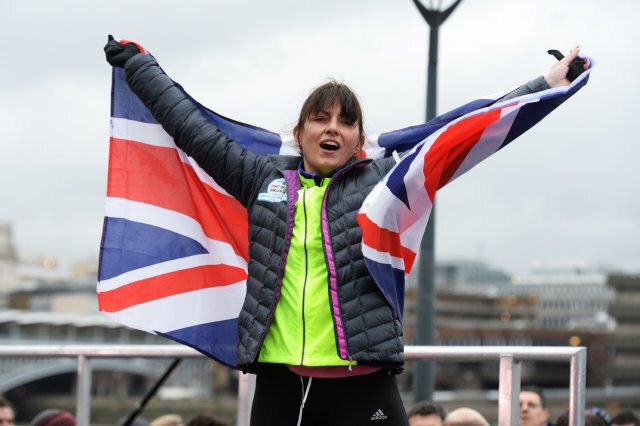 LONDON, ENGLAND - FEBRUARY 14:  Davina McCall completes her BT sport relief challenge at Tate Modern on February 14, 2014 in London, England Davina has cycled, swam and ran 500 miles from Edinburgh to London in seven days starting at Edinburgh Castle  (Photo by Dave J Hogan/Getty Images)