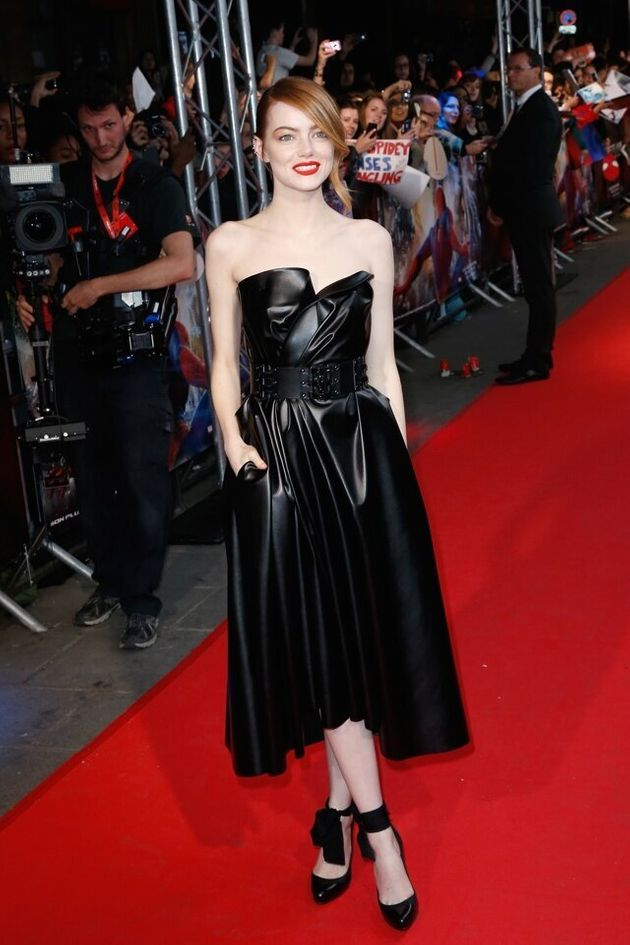 Emma Stone Wows In Strapless Lanvin Leather Dress At
