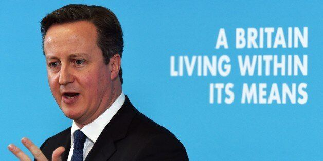 British Prime Minister and leader of the Conservative Party David Cameron delivers a speech on the ecomomy...