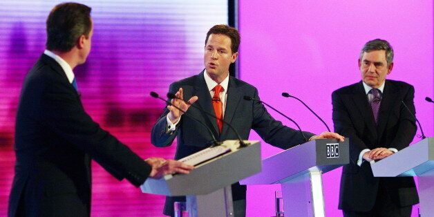 British opposition Conservative party leader, David Cameron (L), opposition Liberal Democrat leader,...