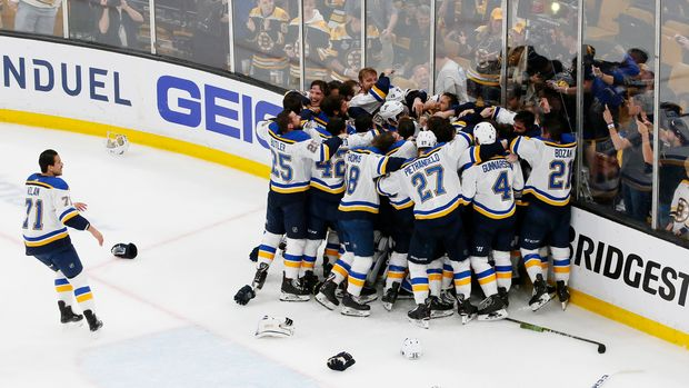 BOSTON, MASSACHUSETTS - JUNE 12: The St. Louis Blues celebrate after defeating the Boston Bruins in Game Seven to win the 2019 NHL Stanley Cup Final at TD Garden on June 12, 2019 in Boston, Massachusetts. (Photo by Rich Gagnon/Getty Images)